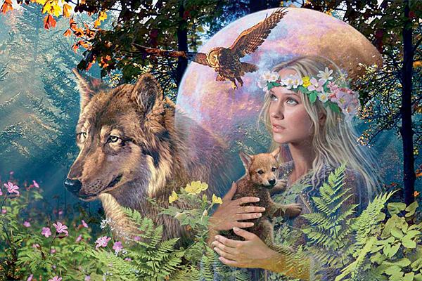 Паззл ''Лесная фея с волком'' - купить, отзывы, обзоры.