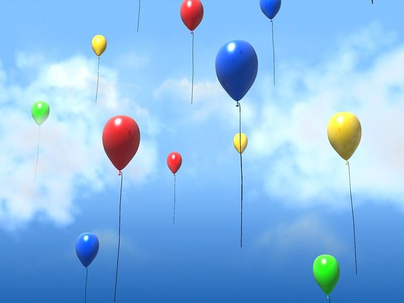 Клоунами, шарики летят гифка