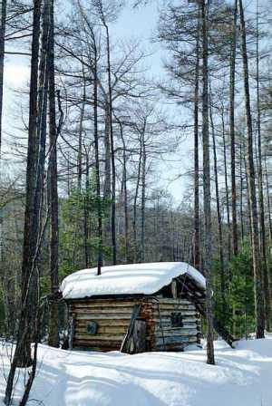 Байкальский хребет, зима 2002.  Зимовье в байкальской тайге.