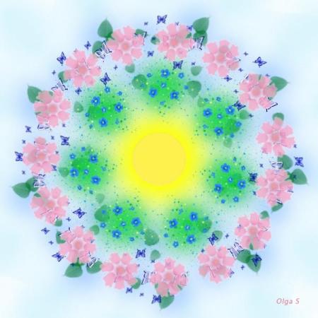Мандала Цветы и солнце