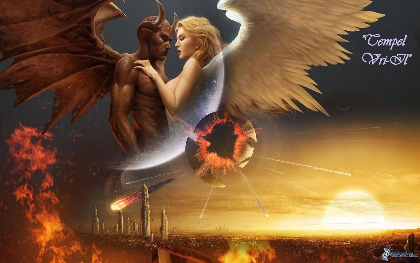 Картинка ангел и демон, картинка шторы картинки