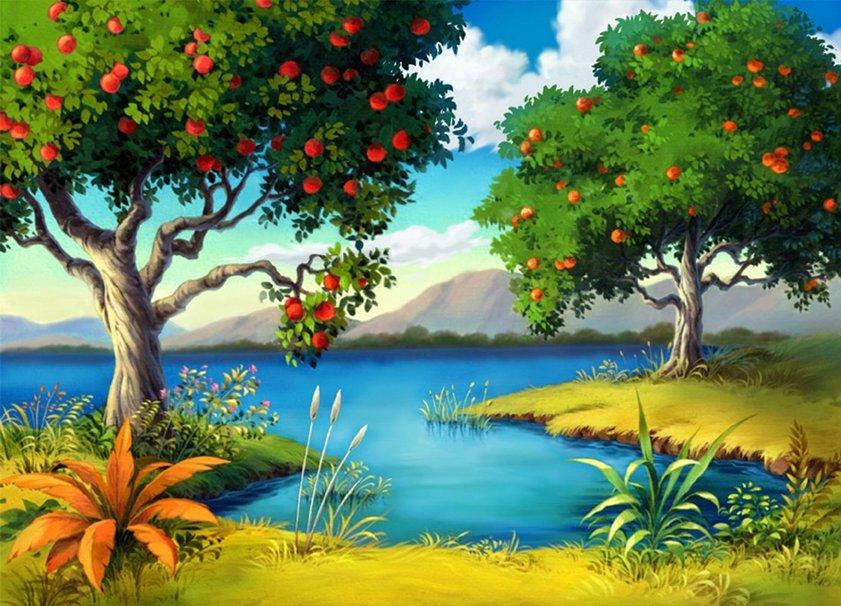 рисунок с деревом и водой портретная съемка