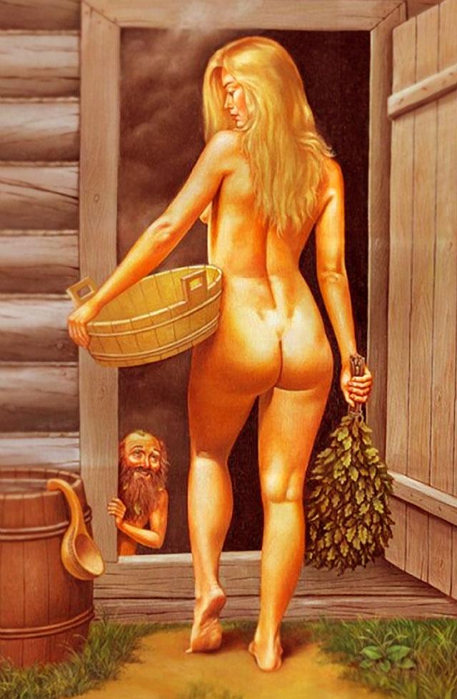Смотреть видео женщины в деревенской бане