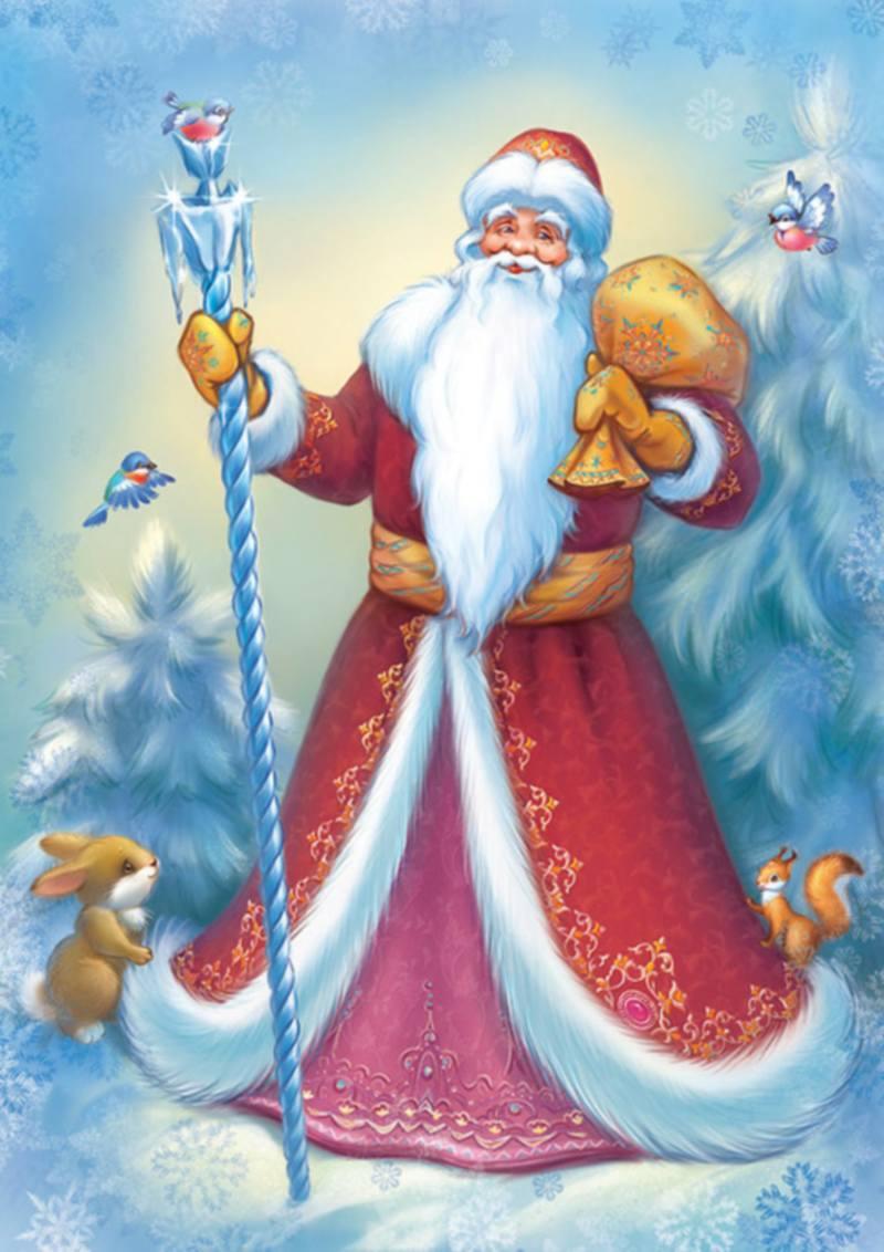 Современные новогодние открытки с дедом морозом 28