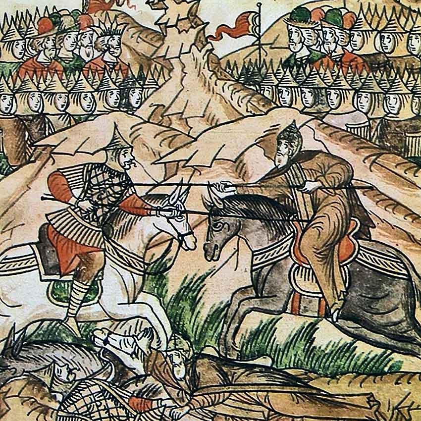 Это куликовская битва. Вы можете точно сказать- с какой стороны Русь, а с какой ТАТАРО-МОНГОЛЫ???