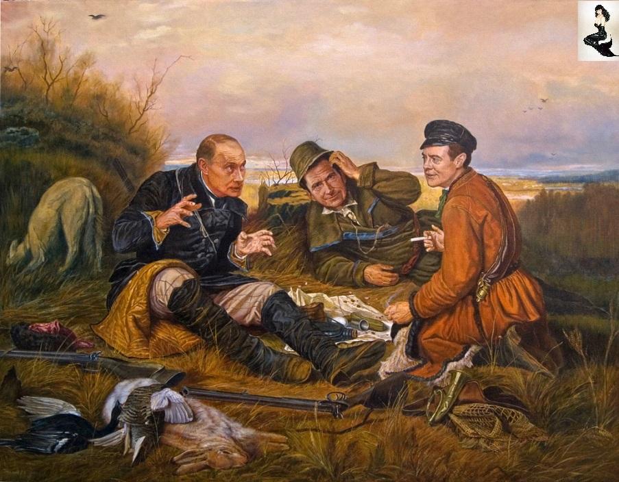 охотники на привале картина карта