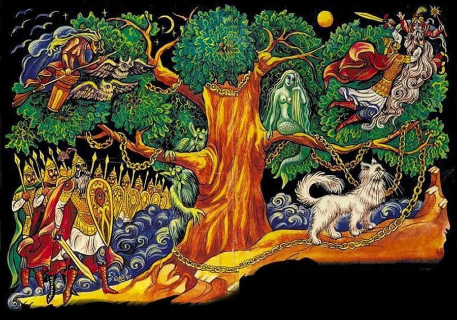 У лукоморья дуб зеленый картинки