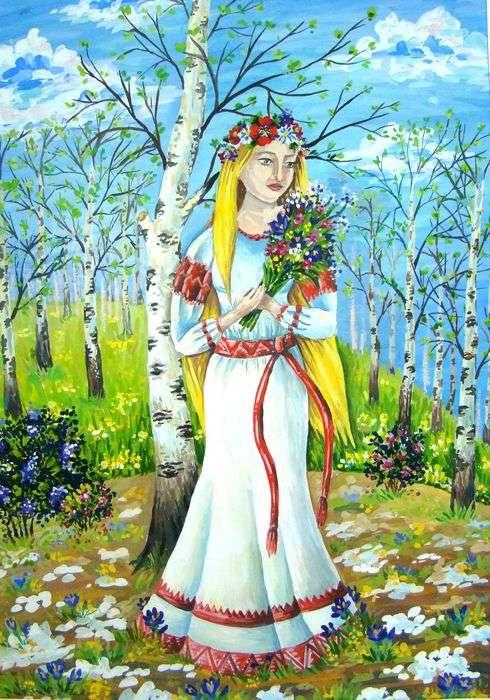 Угощаю, открытка девушка-весна